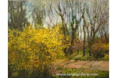 """Лора Маринова, Пролет в градината <br /><tt>Източник: Галерия """"Ларго""""</tt>"""